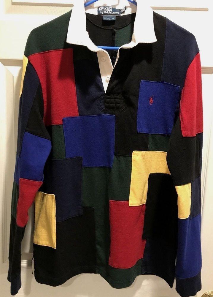c9a8d7c99 Vintage POLO RALPH LAUREN Color Block Patchwork Rugby Shirt - L Topstitched   PoloRalphLauren  PoloRugby