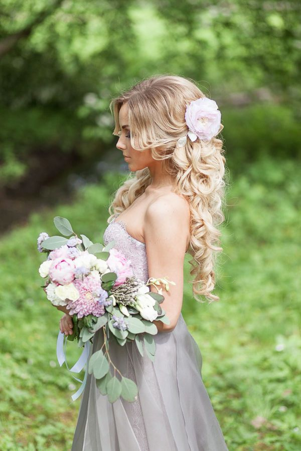 long bridal hairstyles with flower