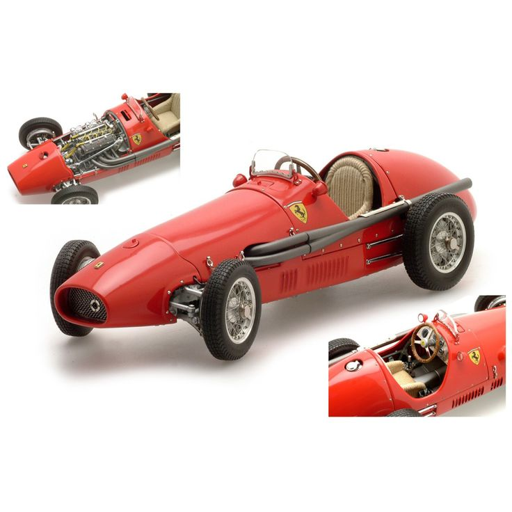 Ferrari 500 F2 1953 - 1:18 Scale. The model is really something special, from the minutely treaded rubber tyres to its ribbed velour seat cover. A look under the engine hood will reveal the precise construction of the power unit and exhaust, the cockpit has a wooden steering wheel and every dial is detailed: 526 single rivets were necessary to build the fuel & oil tanks true to the originals. All in all, a truly superb replica!