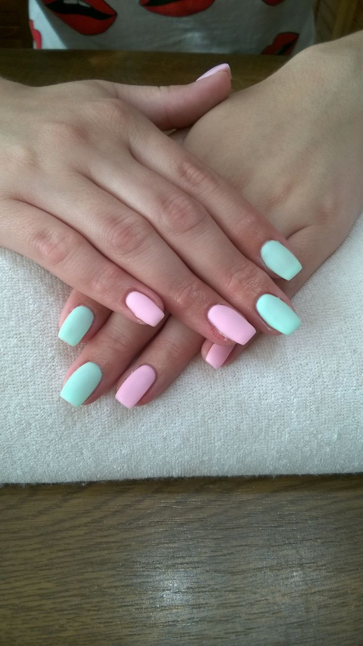 matte green and pink
