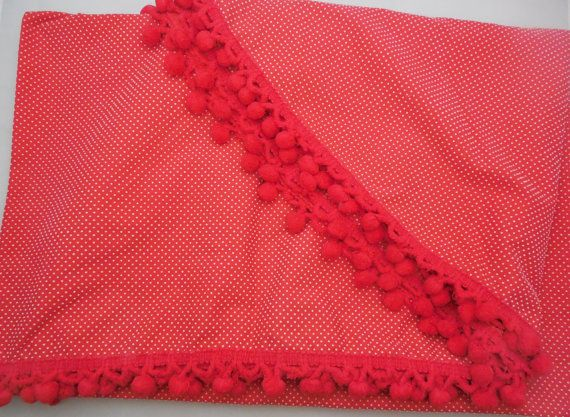 Red Dotted Swiss Oval Tablecloth, 84 Oval Tablecloth with Red Ball Tassels  Measures 84 long and 55 wide, this is from cloth edges, tassels make