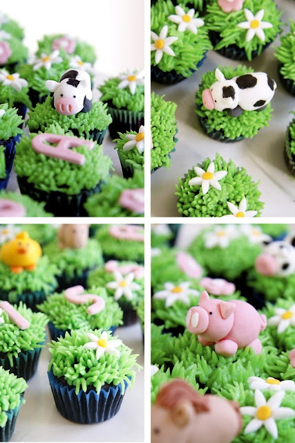 Farm animal cupcakes. I want to learn to decorate them just for this now