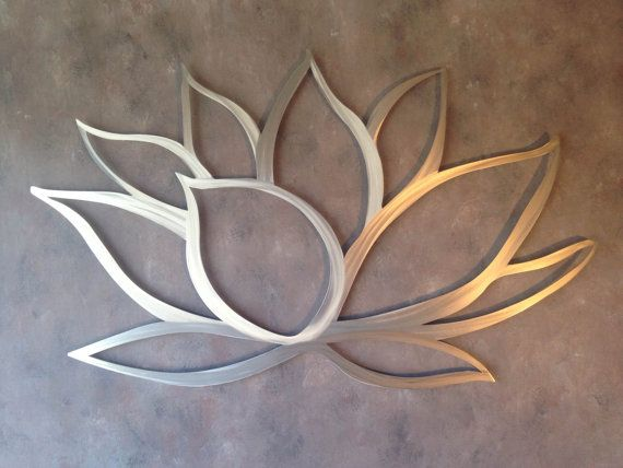 Lotus Flower Metal Wall Art Home Decor Large Silver Above Bed
