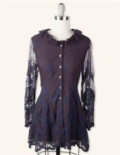 Victorian Trading Co Hopeless Romantic Blue Black Lace Corset Jacket XL