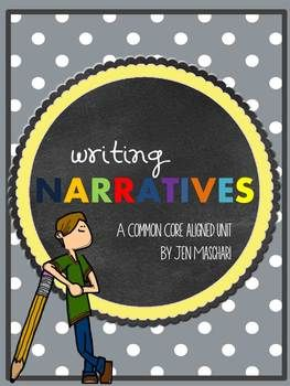 Writing Narratives: A Common Core Standard Aligned Unit ~ In this unit designed for grades 4 - 6, students will learn to effectively write GREAT narratives.  They will explore idea formation, what makes a good story, building characters, plot, dialogue, detail, description, transitions, show-not-tell, and will hone their revision and editing skills.  Also includes a self-assessment and teacher rubric as well as the opportunity for a Publication Celebration. CCSS aligned! $
