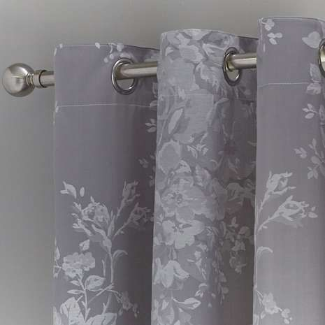 Grey Laura Thermal Eyelet Curtains