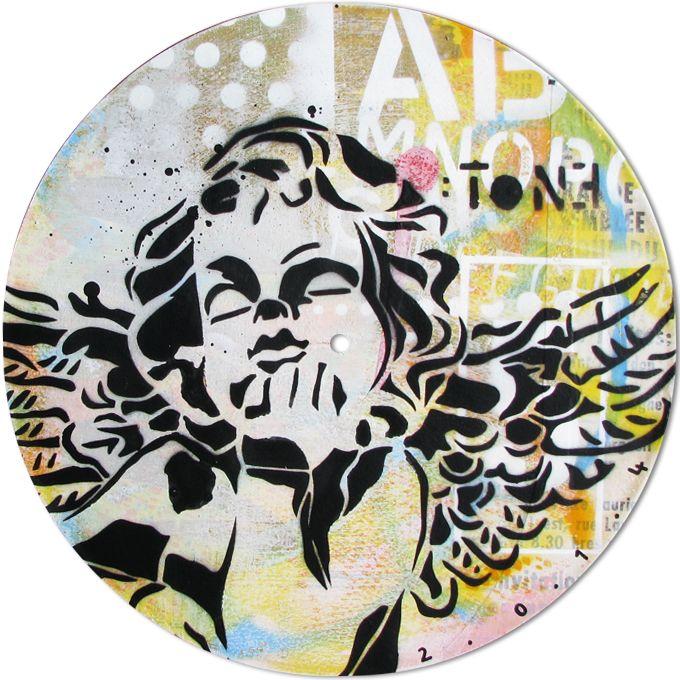 ANGE-3.Technique mixte sur disque vinyle 33T / Mixed media on vinyl disc 33T. Juillet 2014, july. Artiste-peintre: Tone.  www.t-pakap.net