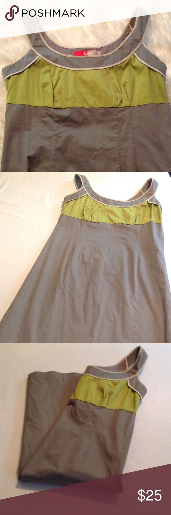 Boden dress Gray and green boden dress. Zipper on side and small slit in back. 97% cotton 3% Elastane and liner is 100% cotton. (C) Boden Dresses