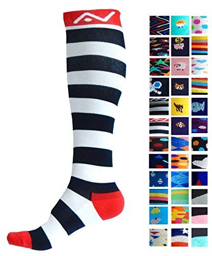Compression Socks (1 pair) for Women & Men by A-Swift - Graduated Athletic Fit for Running Nurses Flight Travel Skiing & Maternity Pregnancy - Boost Stamina & Recovery (Stripey L/XL)