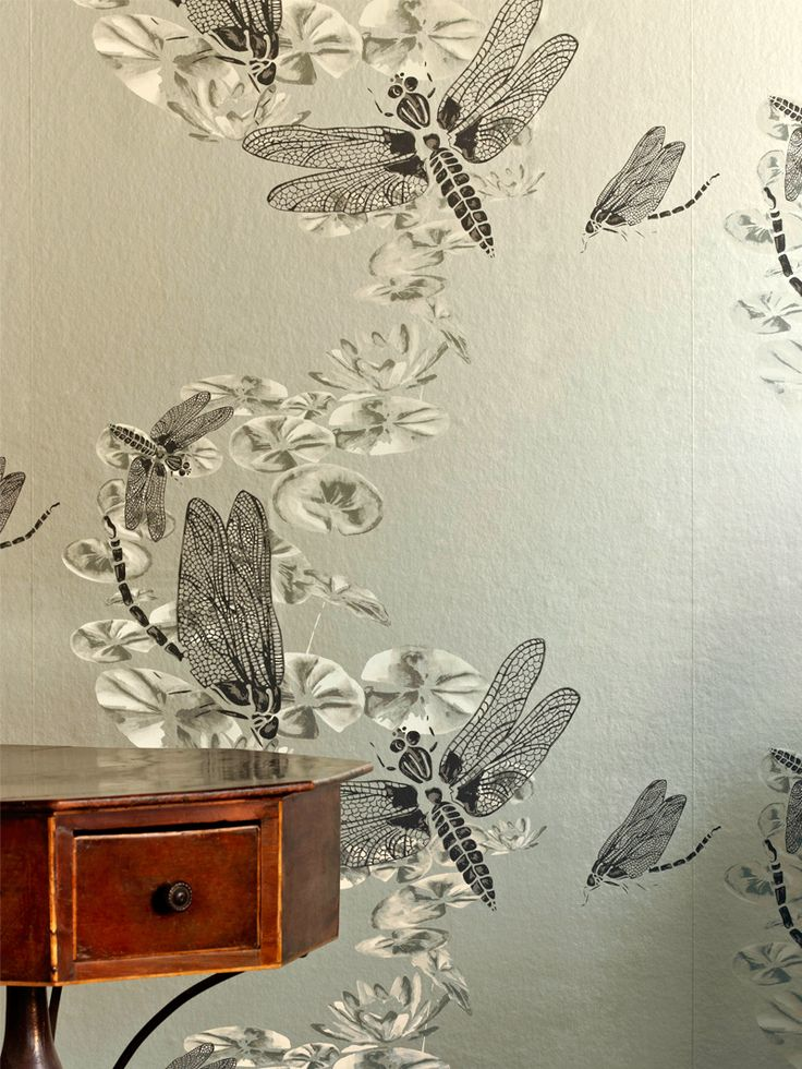 Dragonfly Wallpaper - Pewter
