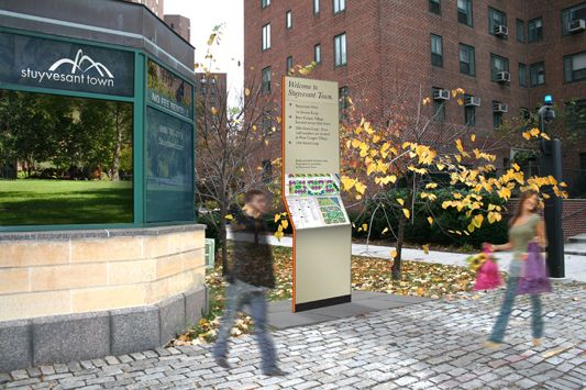 Russell Design | Selected Work. Environmental Graphics. NYC Signage and Wayfinding:  Stuyvesant Town & Peter Cooper Village, kiosk and directory.