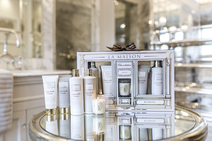 Indulgent Bathing set featuring our new La Maison Crème Brule & Cocoa pampering toiletries and a heavenly scented candle.