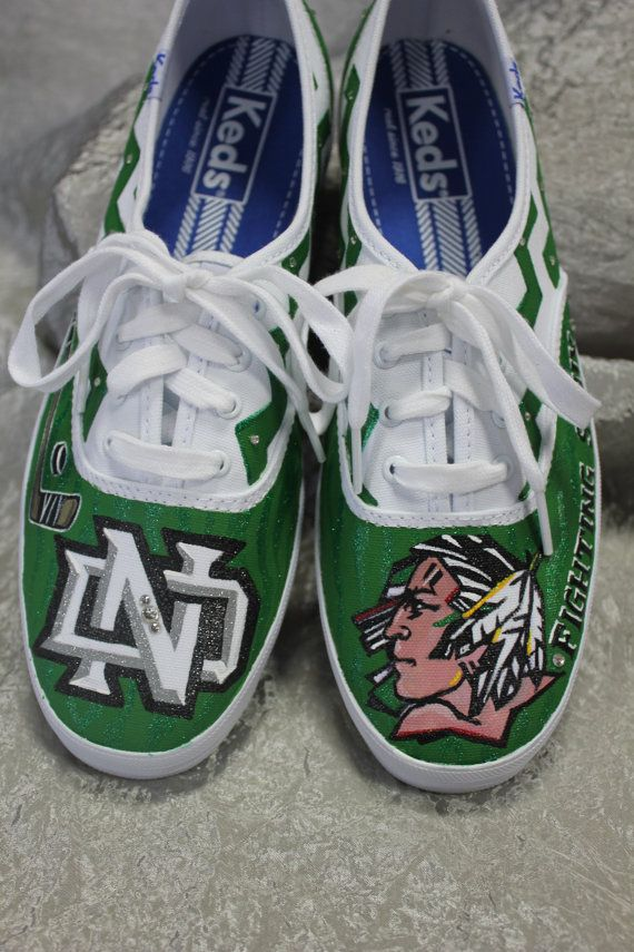 @karaell3 North Dakota University Fighting Sioux Hand Painted Keds Lace-up Canvas Shoes