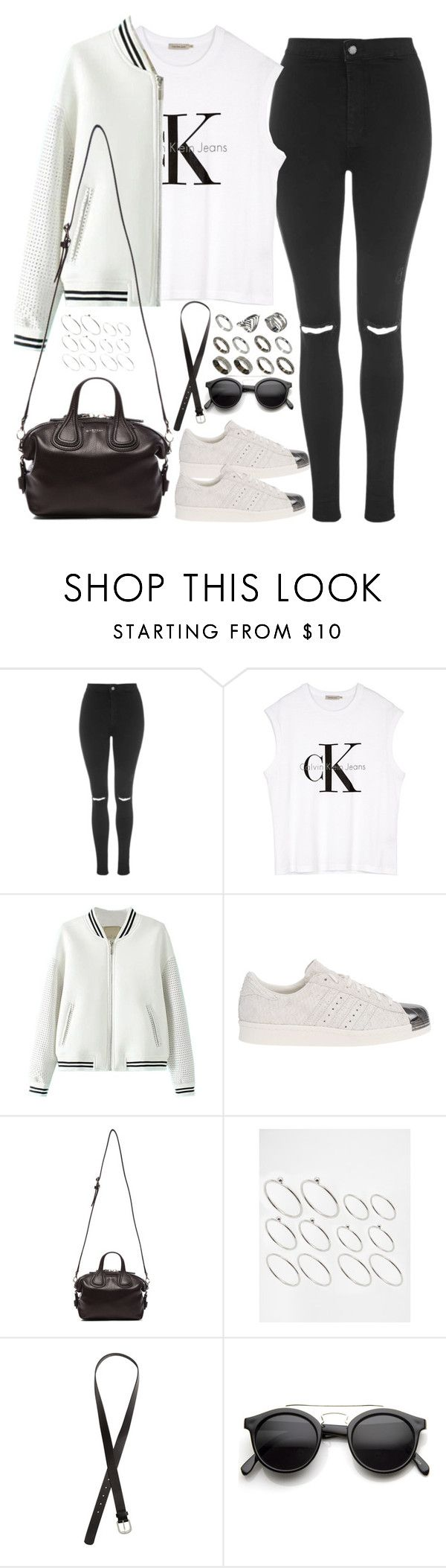 """""""Untitled#4086"""" by fashionnfacts ❤ liked on Polyvore featuring Topshop, Calvin Klein, adidas Originals, Givenchy, ASOS, H&M and Retrò"""