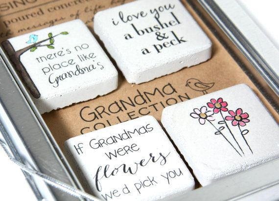 Grandma Gift FREE SHIPPING Rustic Refrigerator Magnets.1.25 x 1.25. Perfect for Mothers Day, Christmas, Birthday.Gift Tin with Ribbon.