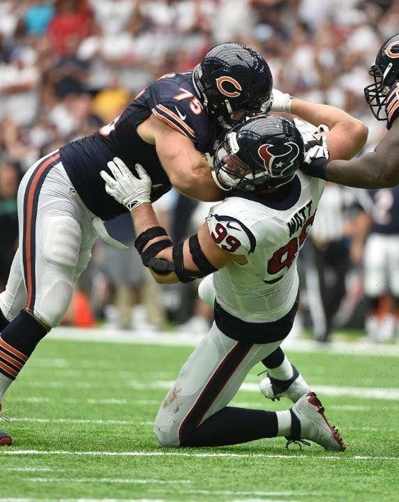 4e04bc54 Kyle Long blocking JJ Watt   Chicago Bears   Nfl bears, Bears ...