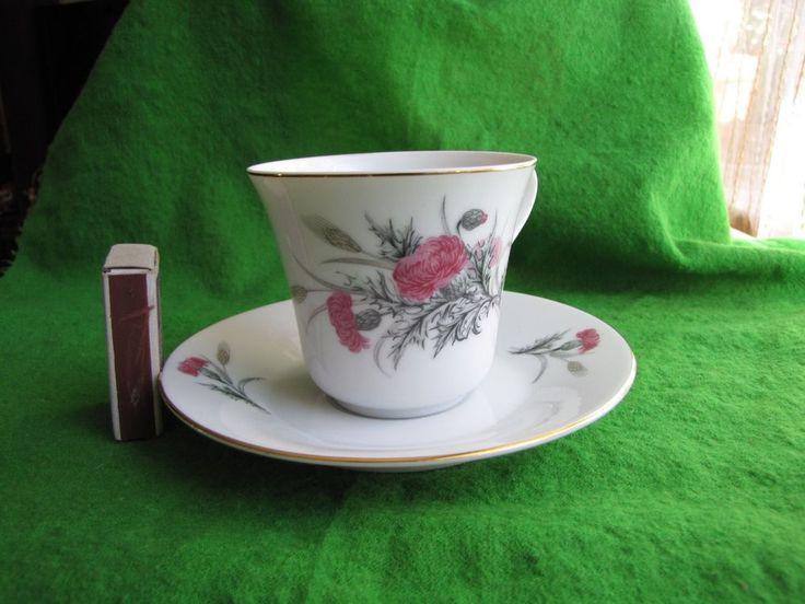 Vintage  COFFEE TEA Cup & Saucer Flowers Marked Японское море