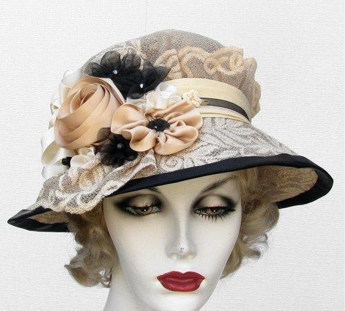 Edwardian Vintage Ladies Hat Style Summer Wide Brim Ribbon