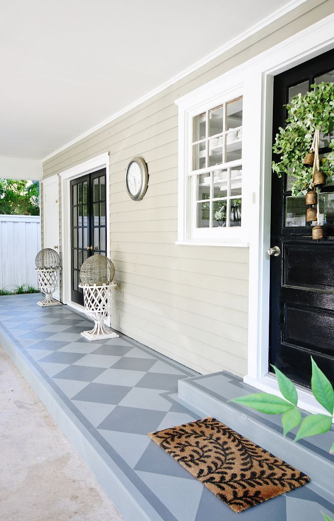Before and After Painted Concrete Porch – #Concrete #PAINTED #Porch