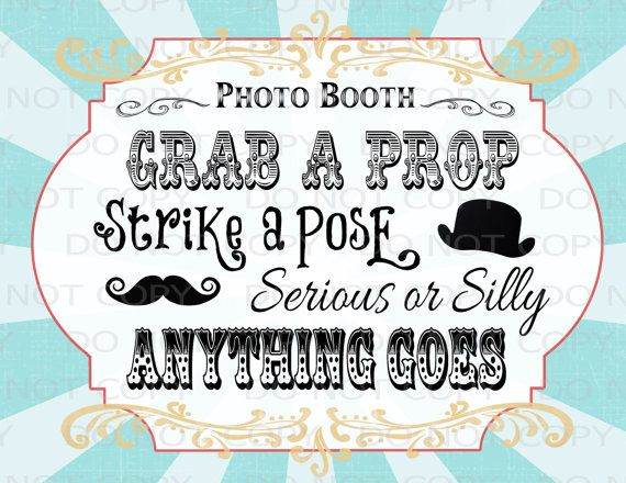 Printable DIY Vintage Circus Photo Booth Prop by onelovedesignsllc, $3.50