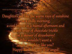 Daughter birthday quotes,happy birthday messages for daughter, cute birthday cards for daughter - sunshine