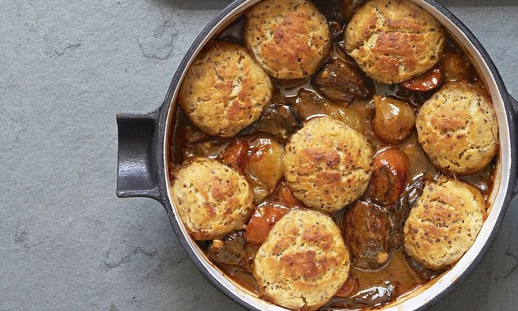 Gordon Ramsay's Beef stew with mustard suet dumplings - serve with his twice-baked bubble and squeak jacket potatoes