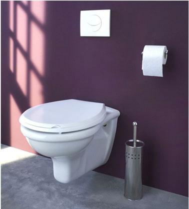 Espace toilettes dans salle de bains, wc suspendu et plaque chasse deau blanc, peinture mur prune sol béton gris pastel