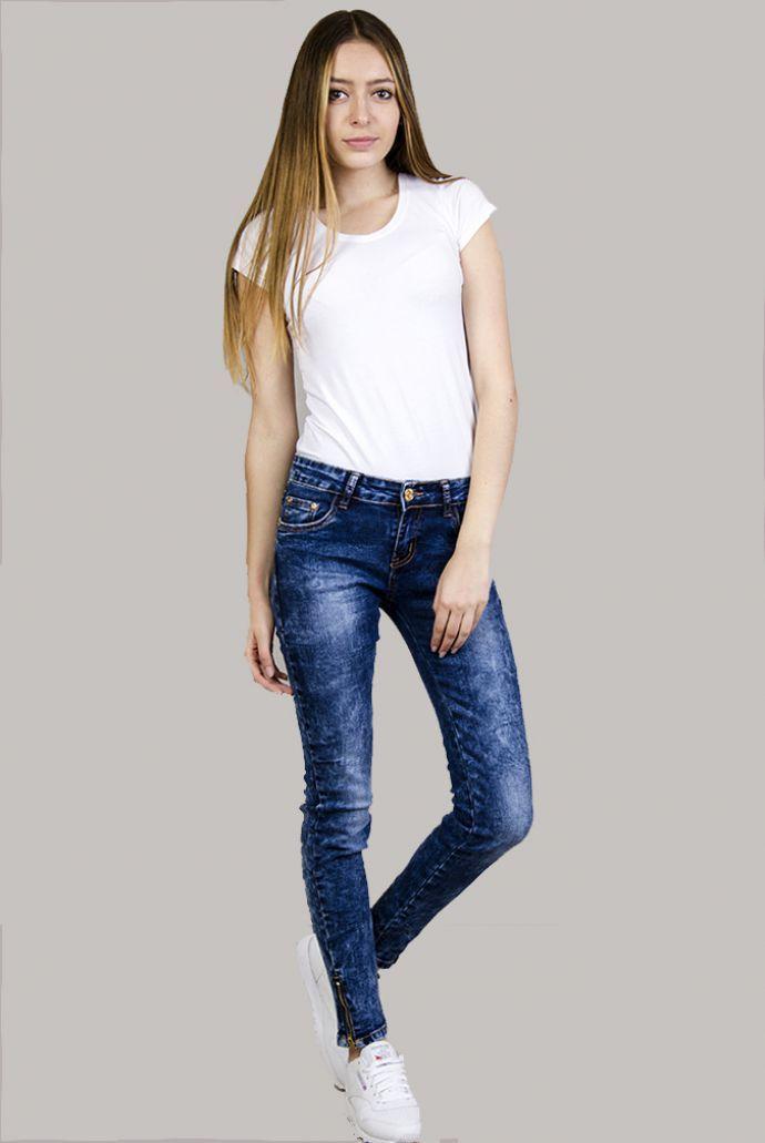 Klasyczne spodnie rurki jeansowe z zamkami na dole