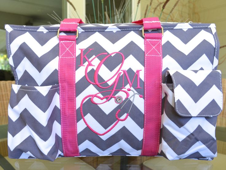 Chevron tote, Grey and Pink, Nurse's tote, Diaper Bag, Monogrammed Tote by StitchedInStyle1 on Etsy