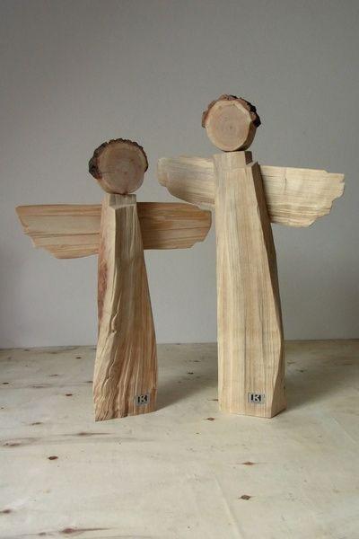 Deko-Objekte - handgefertigtes Holzengelpaar - Unikate - ein Designerstück von BK-s-kleine-Tochter bei DaWanda