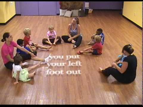 Yoga hokey-pokey - very cute for early childhood This activity we did with the kids. They liked this activity because they all knew the words and the dance.