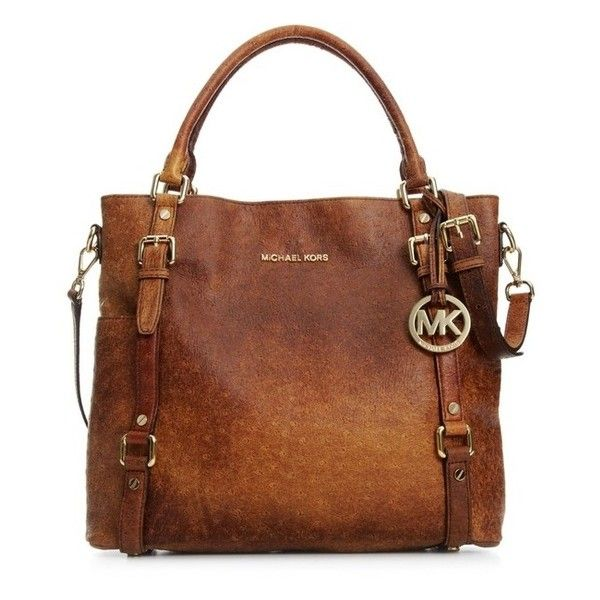 Michael Michael Kors Handbag, Bedford Ostrich Tote ❤ liked on Polyvore