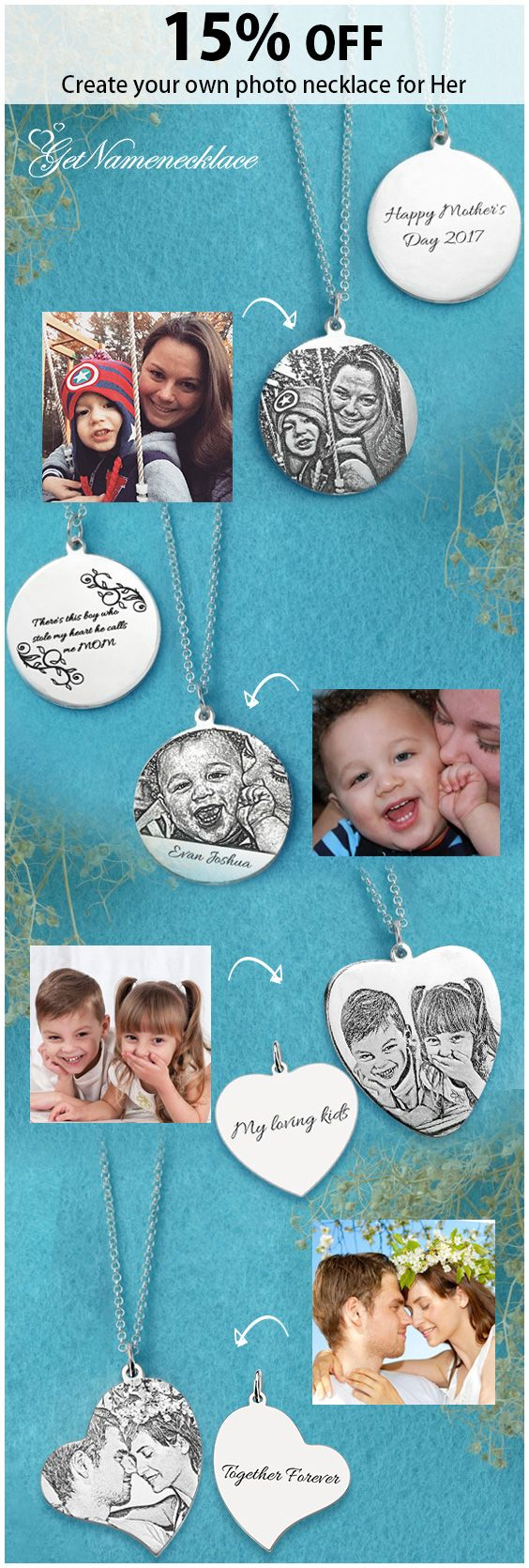 A picture is worth a thousand words! Create a memorial gift for her-Photo Jewelry ,ships in 4-7 business days ,you can save extra 15%  and get free shipping when you visit getnamenecklace.com.