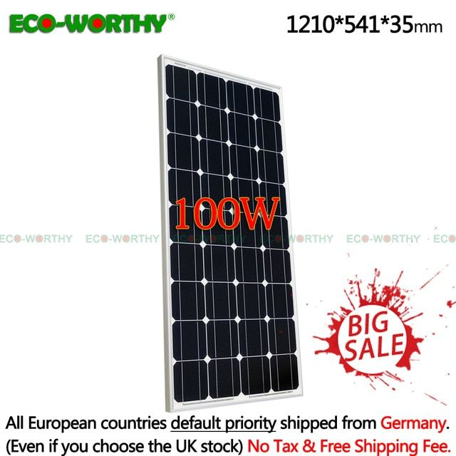100w 18v Monocrystalline Solar Power Panel For 12v Battery Charger Car Home 200w 400w 600w 800w 1000w Solar Panels System Kit Review Solar Power Panels Solar Power Solar Panel System