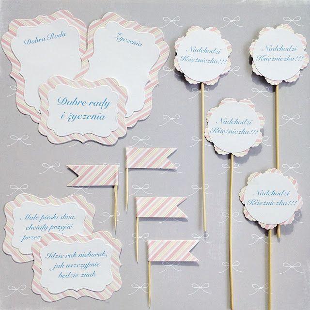 Proste do wykonania dekoracje stołu na Baby Shower. Napisy po polsku. Na blogu więcej o tym jak zorganizować baby shower.