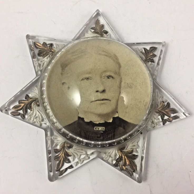 Victorian Glass Mourning Star Magnifier Paperweight Dome