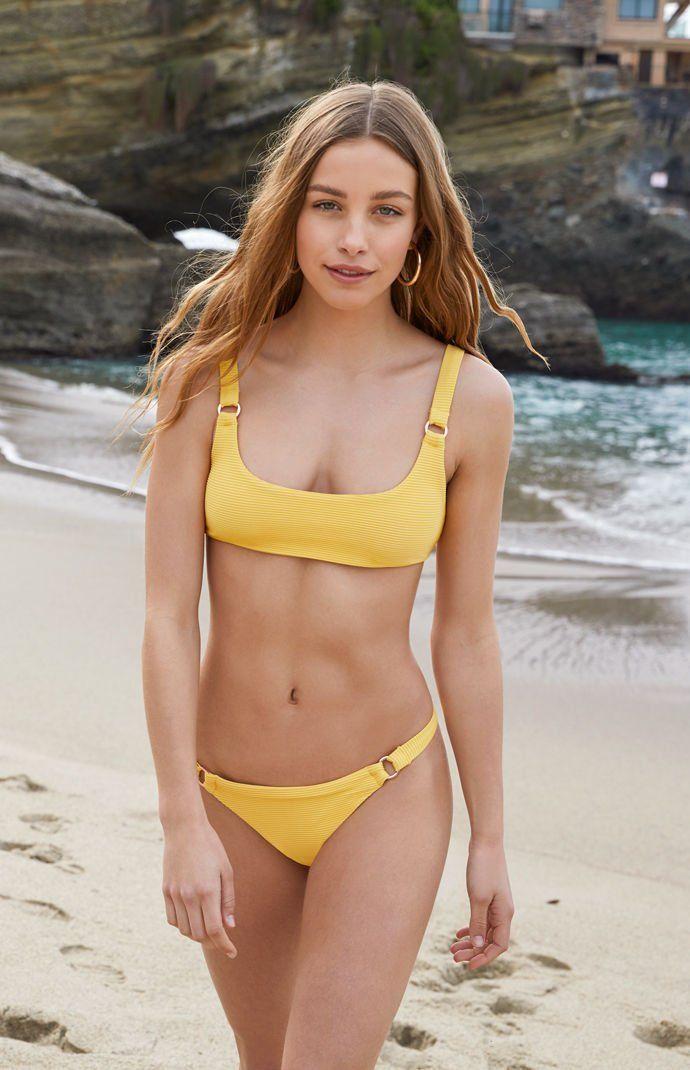 e51a64bd06 Sydney Ribbed Bralette Yellow Bikini Top   Sydney Ribbed Cheeky Yellow  Bikini Bottom