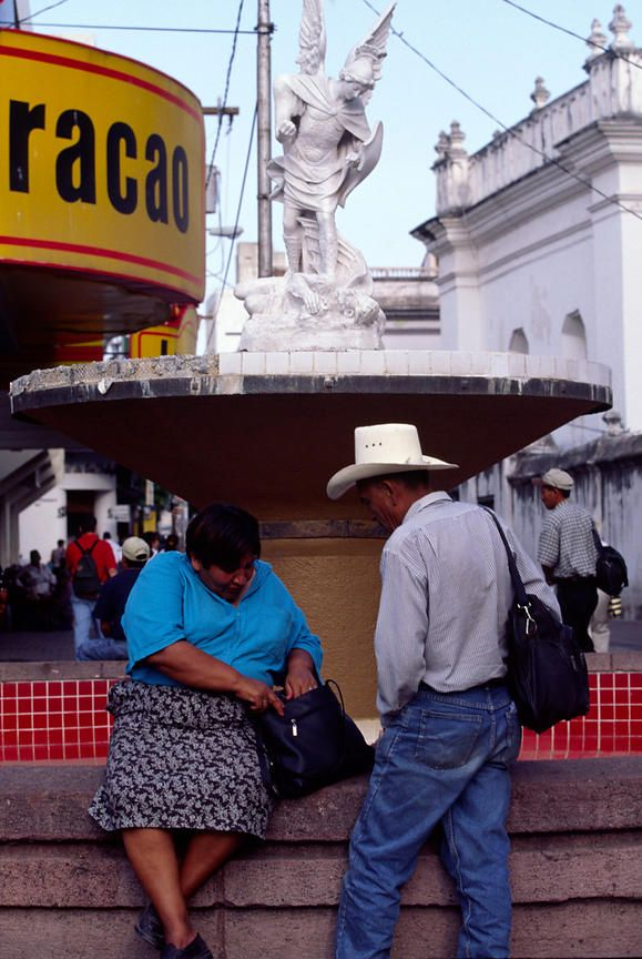 A couple by a fountain, Tegucigalpa, Honduras
