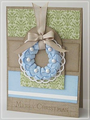 Wreath card by LuvtoStamp.blogsp...: Christmas Cards, Crafts Ideas, Beautiful Cards, Cards Ideas, Ribbons Wreaths, Cards Christmas, Wreaths Cards, Ribbon Wreaths, Ribbons Weaving