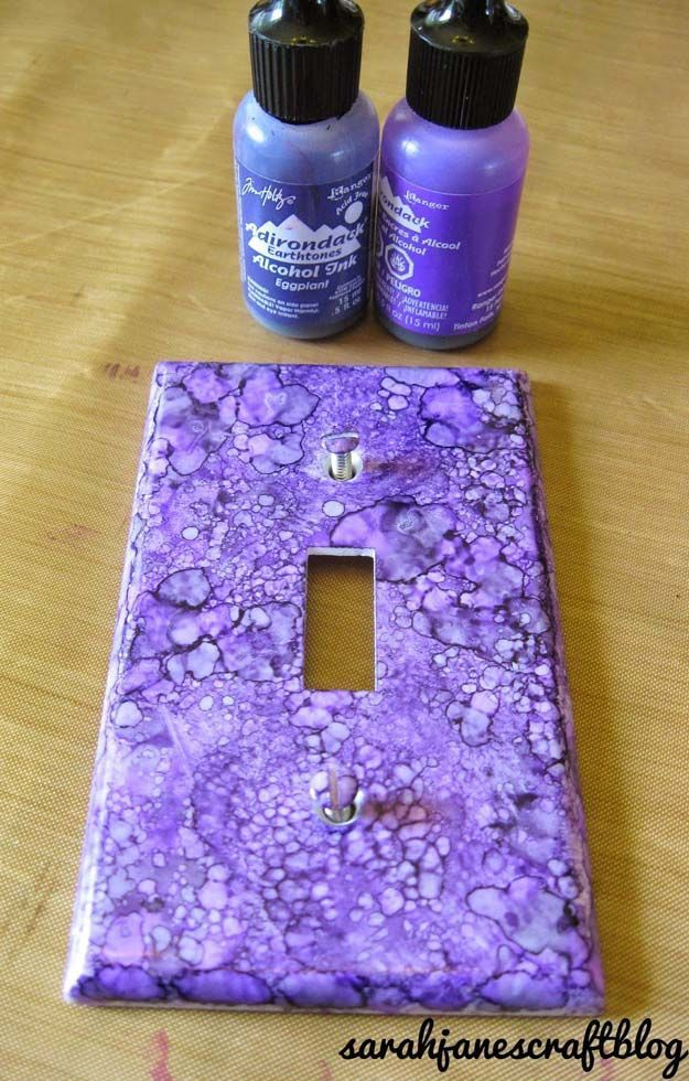 DIY Purple Room Decor - DIY Alcohol Ink Switch Plates - Best Bedroom Ideas and Projects in Purple - Cool Accessories, Crafts, Wall Art, Lamps, Rugs, Pillows for Adults, Teen and Girls Room http://diyprojectsforteens.com/diy-room-decor-purple