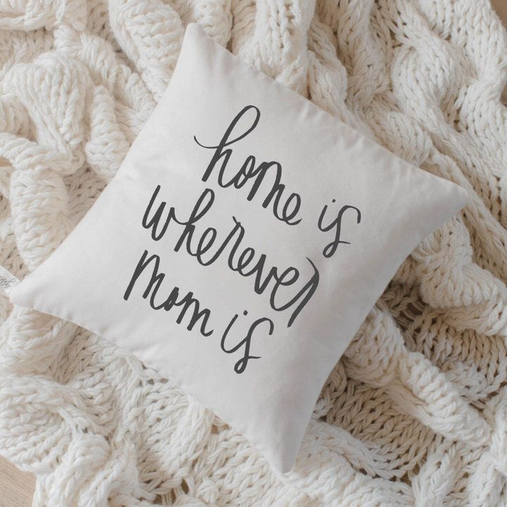 Emily Home Cuscini.Etsy Throw Pillow Home Is Wherever Mom Is Calligraphy Ad