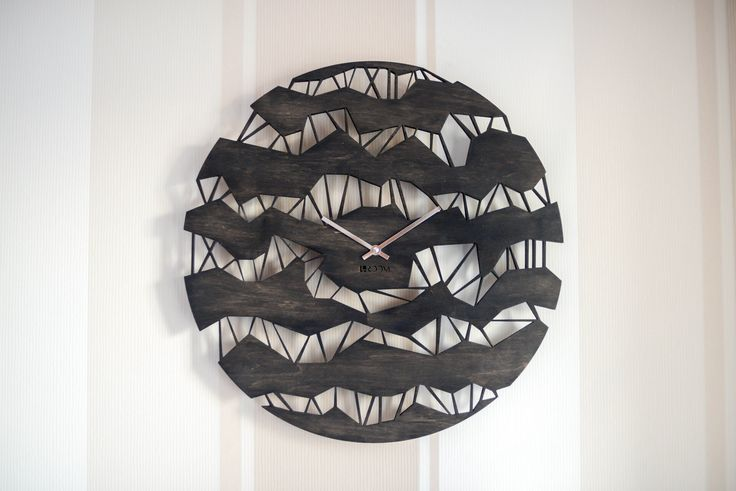 """Modern Wall Clock """"ORIGAMI""""  Large Clock, Handmade clock, wooden clock, Hermle, design clock, home decor, plywood, wood by Lines4room on Etsy"""