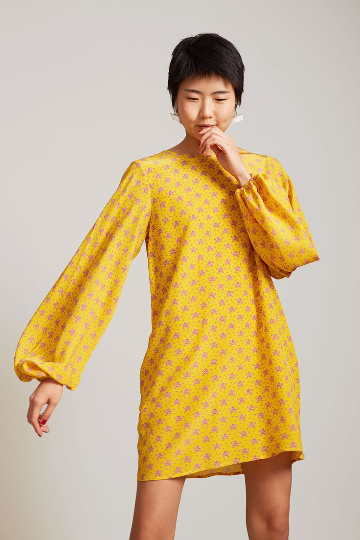 No.6 Balloon Dress in Lemon French Floral