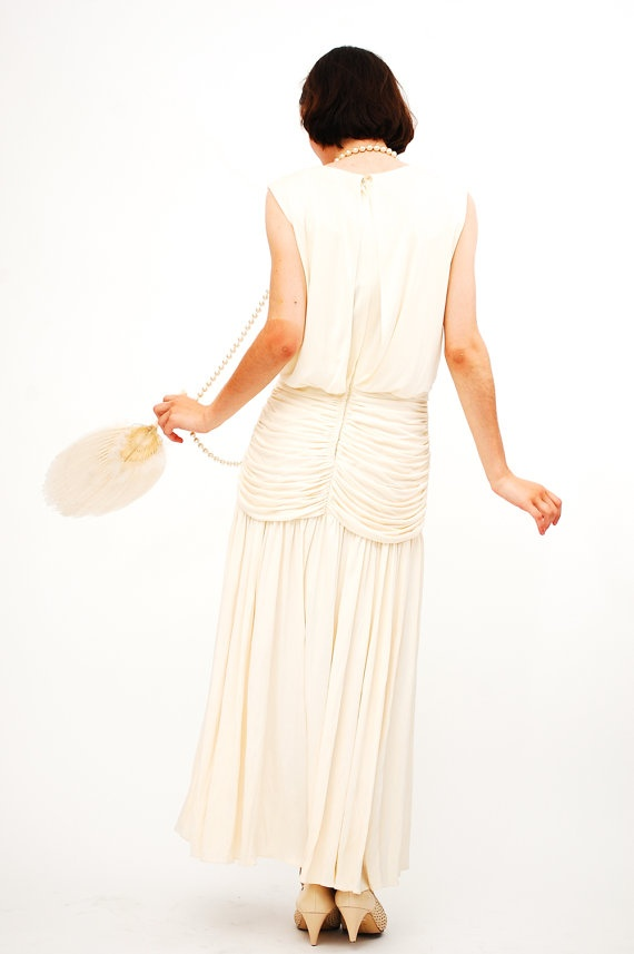 Vintage 1920s Style Wedding Dress  80s does 20s by concettascloset