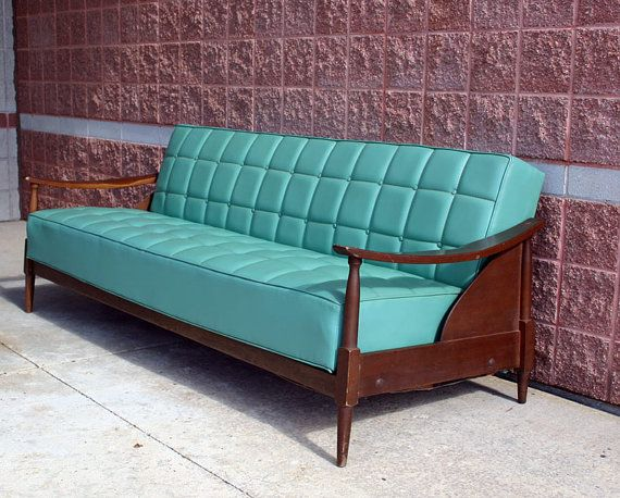 Mid Century Modern Sofa Convertible Couch Bed Teal Vinyl