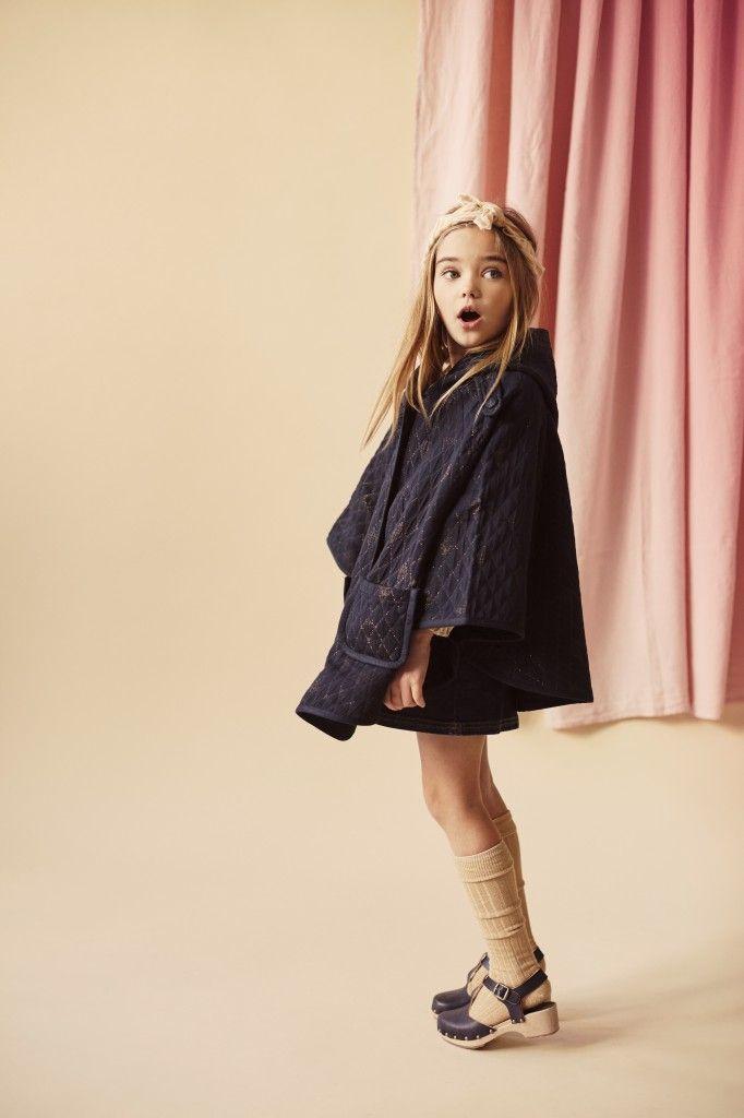 Kinderschoen online Louis Louise jassen Donker blauwe cape met gouden lurex draad