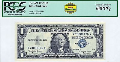 Series 1957 B $1 Silver Certificate Dollar PCGS 68 PPQ Superb Gem New UNC Crisp