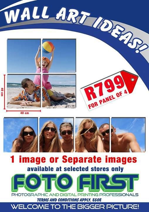 July special: Wall Art Ideas R799 for panel of 4. Only at Fotofirst Mossel Bay 044-695 2858