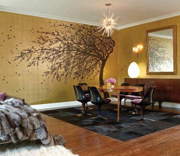 goldene tapeten strahlen w rme aus und sorgen f r magische momente sch ne dinge pinterest. Black Bedroom Furniture Sets. Home Design Ideas
