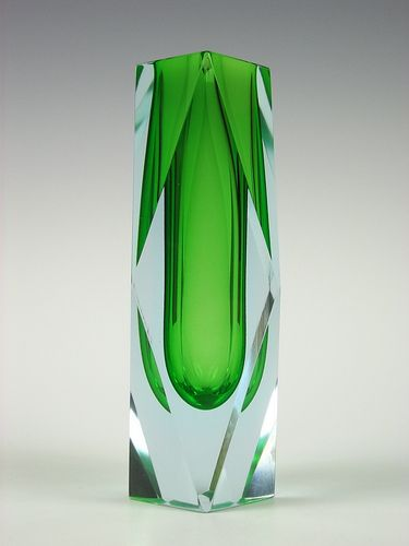Murano sommerso green & light blue faceted glass vase